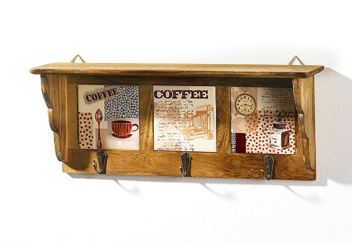 wandregal holz keramik 3 haken braun kaffeedekor wohnen k chenhelfer k chenorganizer 4939. Black Bedroom Furniture Sets. Home Design Ideas