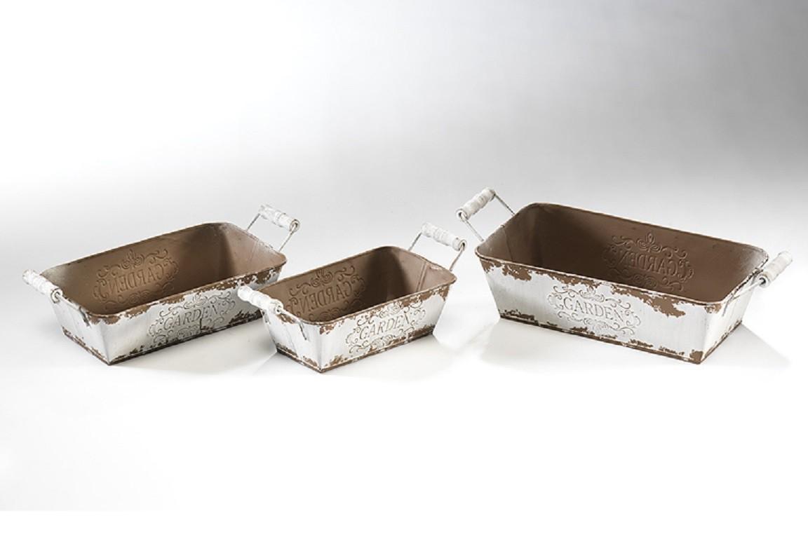 pflanzgef rechteckig aus metall 3er set garten baumarkt gartenzubeh r blument pfe zubeh r 4944. Black Bedroom Furniture Sets. Home Design Ideas